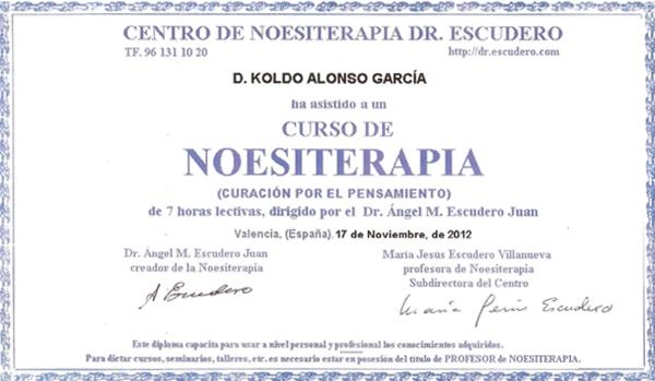Diploma Curso de Noesiterapia. Curacion por el Pensamiento por el Dr. Angel Escudero y Maria Jesus Noviembre 2012