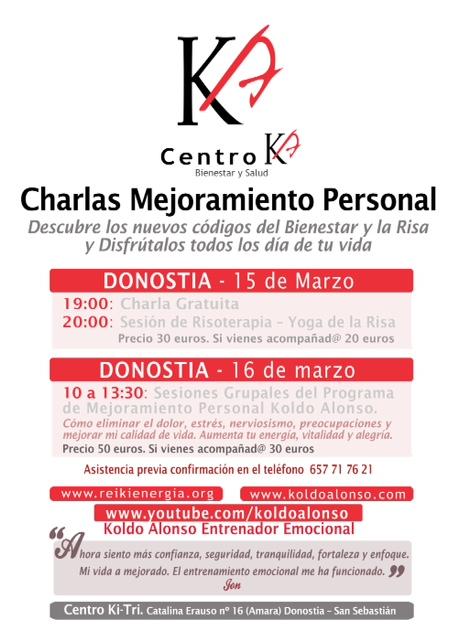 Descubre los nuevos codigos del Bienestar y la Risa. Programa de Mejoramiento Personal de Koldo Alonso en Bilbao y Donostia - San Sebastian