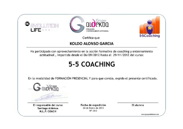 5-5 Coaching Entrenamiento Actitudinal Diploma KOLDO ALONSO Formacion Presencial
