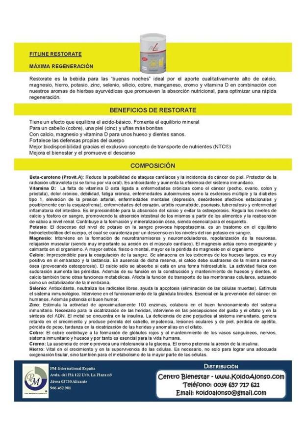 FitLine Restorate Máxima Regeneración PM International