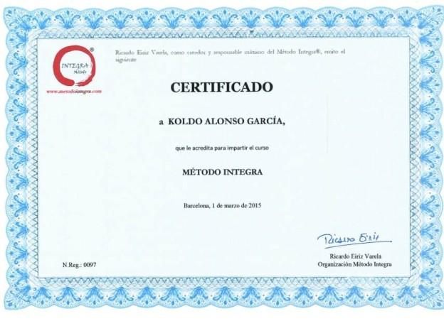 CERTIFICADO a Koldo Alonso García que le acredita para impartir el curso METODO INTEGRA Barcelona por Ricardo Eiriz Varela
