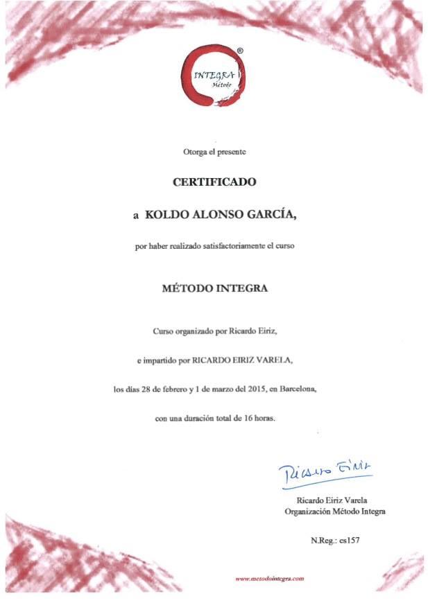 CERTIFICADO a Koldo Alonso Garcia por haber realizado satisfactoriamente el curso METODO INTEGRA organizado e impartido por Ricardo Eiriz Varela