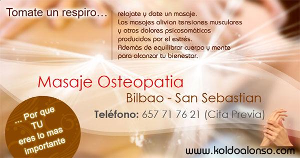 Koldo Alonso Masaje Osteopatia en Bilbao y Donostia San Sebastian fuera el Dolor la Tension y el Estres Adelante con el Bienestar